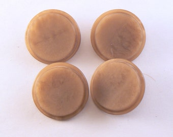 4 - 27 mm Lucite Buttons - Beige Buttons -  Matte Tan Flat Top Shank Buttons - Large Tan Buttons - Vintage Sewing Buttons #BN-07-01