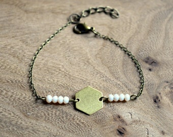 Geometrical bracelet CHOOW hexagonal and pearl facets