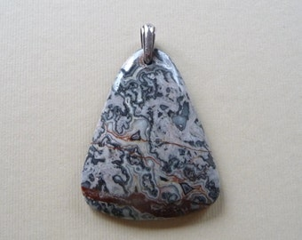 Brush Painting Jasper Natural Stone Pendant