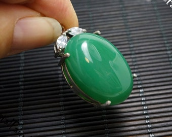 Super High Quality Chunky Green Chalcedony Jewelry - Green Chalcedony Necklace, Green Agate Necklace - Heart Chakra Green Onyx Necklace