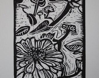 Zinnia Linocut  Print