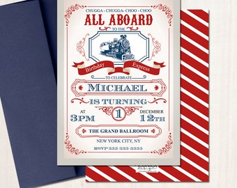 Train Birthday Invitation - Vintage - Birthday Express All aboard - Train Party - Any Age - Printed or  Printable File Free Shipping IBD0004