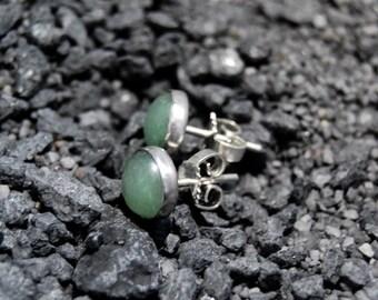 Handmade green Aventurine stud earrings, oxidized sterling silver, 8mm Aventurine cabochon, green studs, ear studs, post earrings