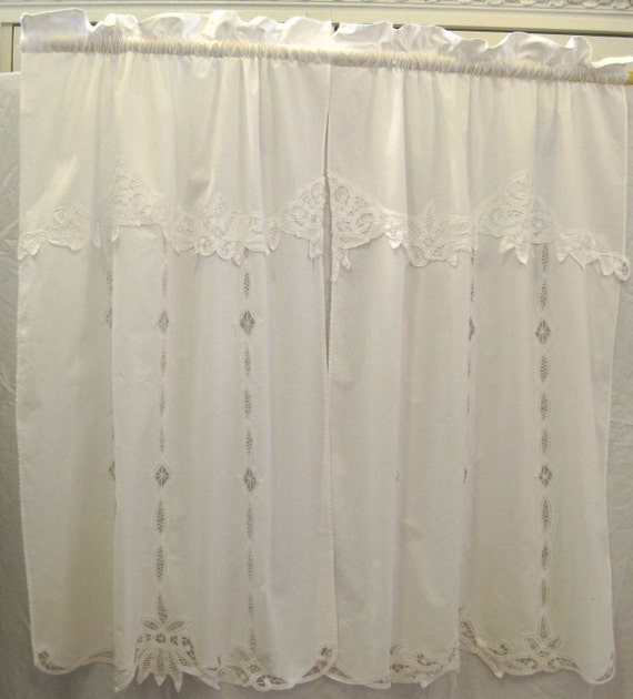 vintage cotton curtains w battenburg lace trim embroidery on etsy