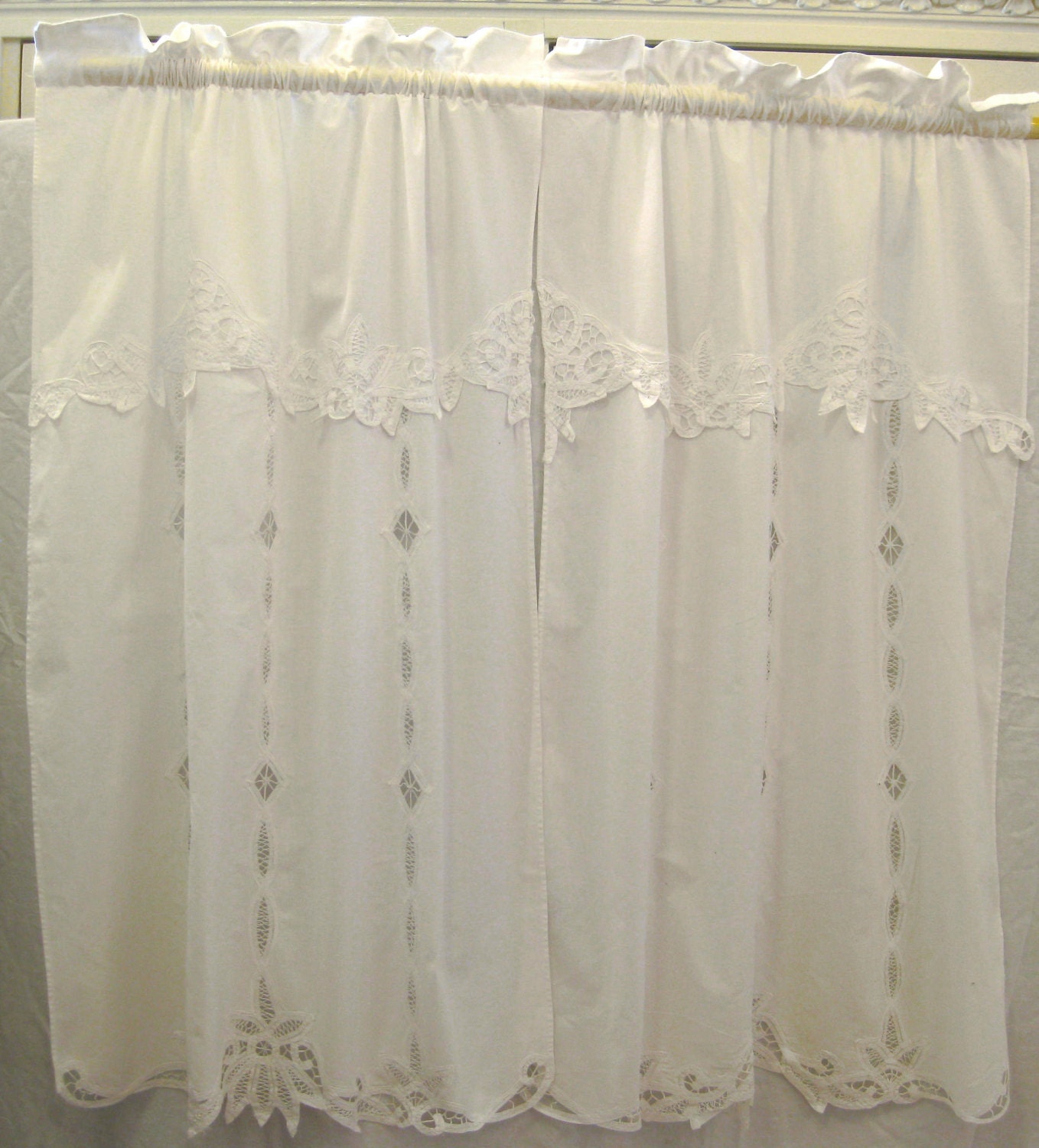Pair Of Vintage Cotton Curtains W/ Battenburg Lace Trim