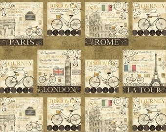 Paris, Rome, London Fabric - Ticket in Hand - Travel Panel Vignette by Cynthia Coulter for Wilmington Prints 42388 291 - Panel 23 inch
