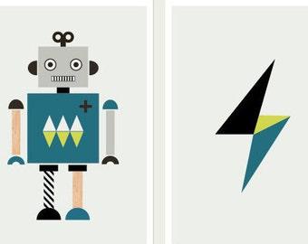 Robot Art Prints, Series of two. Kids art, nursery art, nursery decor, modern kids art, robot prints, boys room art, boy art.