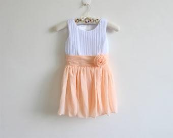 White Peach Flower Girl Dress White Peach Knee-length Chiffon Baby Girl Dress With Flower