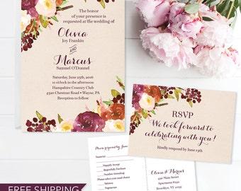 Rustic Burgundy Wedding Invitation Set - Wedding Invite - RSVP Card - DIY Printable Wedding Set - Printed Wedding Invitation - RSVP Postcard
