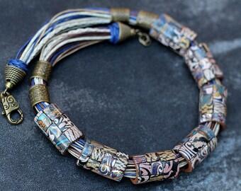 necklace made of polymer clay mokume gane blue mosaic