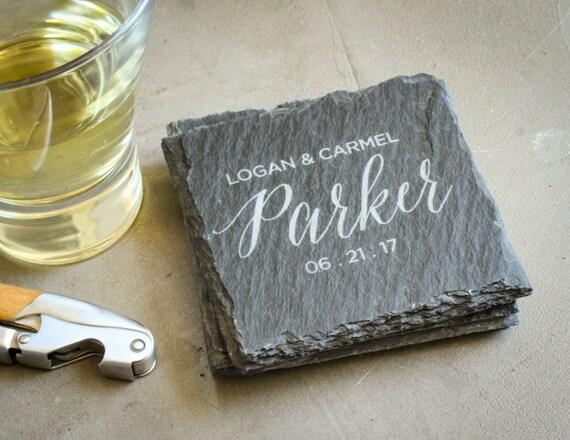 Personalized Coasters Wedding Gift: Custom Engraved Coasters Personalized Slate Coasters