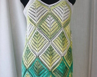 Hand-knitted blouse from multi-colored white, yellow &green bamboo