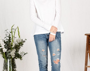 SALE!! Organic cotton long sleeve white top