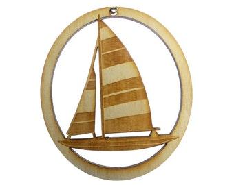 Sailboat Ornament - Sailboat Christmas Ornament - Sailboat Gift Topper - Custom Sailboat Wedding Favor - Sailboat Decor - Personalized Free