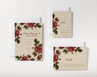Rustic Rose Wedding Invitation and Response/RSVP/Info Card(s) Custom - Digital File / Printed Cards