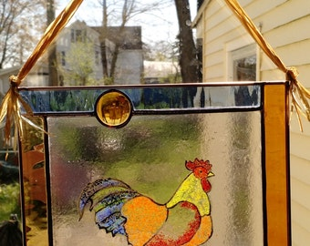 Fused and Stained Glass Rooster Panel