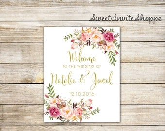 Wedding Welcome Sign, Floral Welcome Sign, Boho Wedding Sign, Gold Wedding Welcome Sign, Personalized Welcome Sign, Bohemian Reception Sign