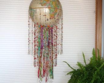 Rainbow World Globe Pendant Light- very beachy!! Free Shipping