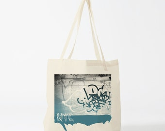 Street Art tote bag, graphic canvas bag, gift for husband, gift for boyfriend, novelty gift for coworker, urban art, graffiti bag.