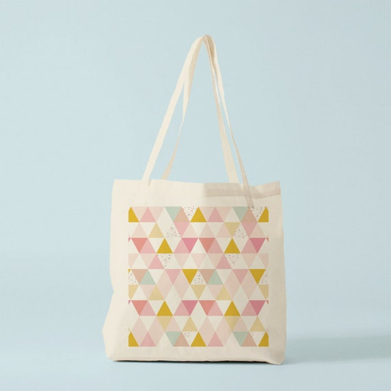 Tote bag Pink triangles multicolored, blush, nude, canvas bag, groceries bag, gift for coworker, gift for best friend, gift women.