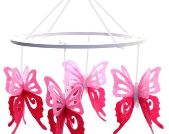 Pink Butterfly Nursery Mobile - Butterfly Crib Mobile