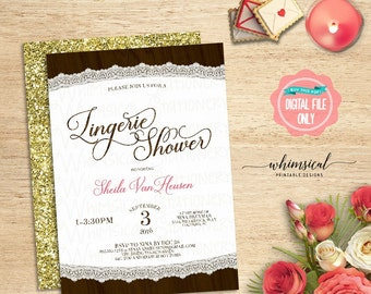 """Lingerie Shower Invitation """"Wood Oval"""" (Printable File Only) Natural Rustic Elegant Wood Grain Faux-Glitter Gold Swirly Font"""