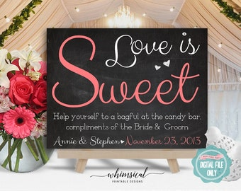 Candy Table Sign (Printable File Only) Wedding Signs, Candy Buffet Sign, Love Is Sweet, Candy Bar Sign, Candy Table Sign, Favor Tag Sign