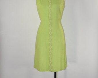 60s lime green dress / 1960s beaded dress / vintage sleeveless shift dress