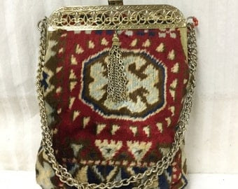 Free Ship Turkish Carpet Purse Red Velvety Shoulder Bag