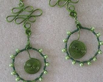 Super long wire wrapped earrings, lightweight earrings, big earrings