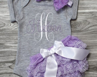 Personalized handmade goods for your little by chesapeakebayby baby girl coming home outfit gray and lavender onepiece personalized baby shower gift monogrammed newborn embroidered negle Images