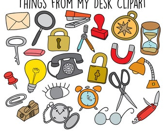 Hand Drawn Clip art Doodles Clip art - Office Supplies Clipart - Hand drawn Icons Clipart Illustration