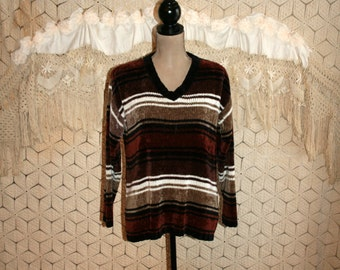 Oversized Grunge Sweater Slouchy Brown Striped Sweater Chenille Sweater Womens Sweaters V Neck Pullover Sweater Medium Vintage Clothing