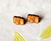 Camera Earrings - Illustrated Vintage Style Design - Laser Cut from Cherry Timber