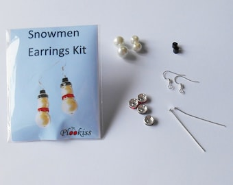 DIY Snowmen Earring Kit, Christmas Stocking Filler, Gifts for Girls, Quirky Festive Accessory, Jewelry Making Kits, Bead Earring Kits