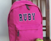 Personalised Backpack with ANY NAME Kids Children Teenagers School Uni Student rucksack Appliqué Name Varsity Letters Gym Swimming Ballet