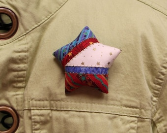 Patriotic Quilted Fabric Small Star Brooches