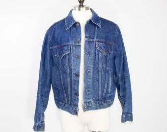 80s Vintage Levi's Denim Trucker Jacket | Perfect Faded Blue Wash | Size Extra Large | Rockabilly | Boho | Grunge