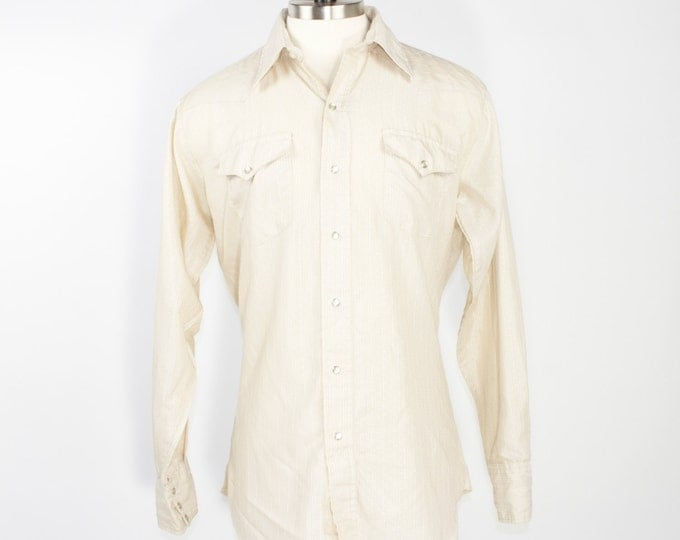 70s Panhandle Slim Western Shirt | Tan Stripe Cowboy Shirt with Pearl Snap Buttons | Size Large | Rockabilly Grunge Workwear Retro