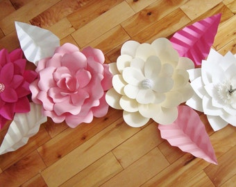 Set of 4 Paper Flowers - Paper Flower Wall | Baby Nursery Decor | Paper Flower Backdrop | Paper Flowers | Flower Wall Art | Flower Decor