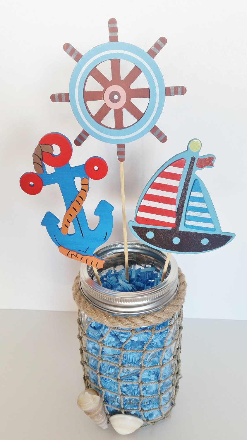 Birthday table decorations boy - Nautical Baby Shower Table Centerpiece Nautical Mason Jar Sailor Party Decor 1st Birthday Centerpiece Beach Theme Party Ahoy Its A Boy