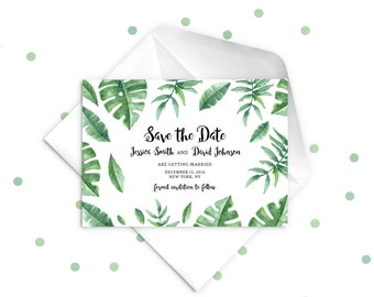 Green Leaves Save the Date Wedding Invitation. Watercolour Leaves.