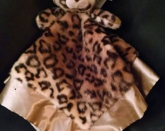 Personalized leopard lovey with satin trim