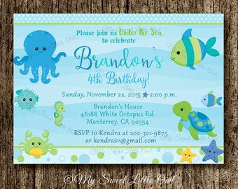 Under the sea invitation - boy under sea printable - under the sea invite -  under the sea birthday - under the sea baby shower invitation