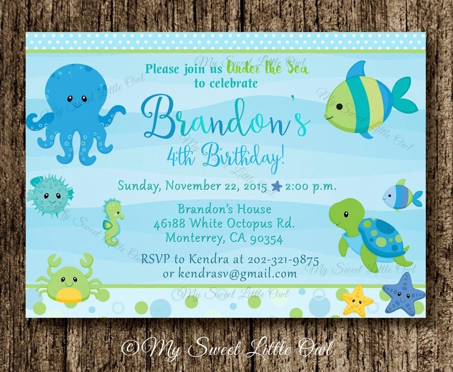 Under The Sea Invitation Boy Under Sea Printable Under The