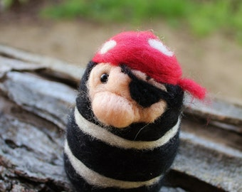 Needle Felted Pirate // Felted People // Newborn Photography Prop // Home Decor // Fiber Art // Merino Wool // Mini Pirate
