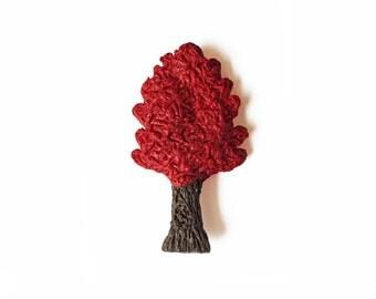 Red Oak Tree Magnet - Polymer Clay Magnet - Autumn Magnet - Fall Leaves Magnet - Kitchen Magnet - Refrigerator Magnet