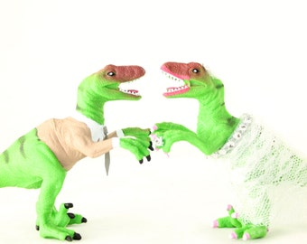 Raptor Bride & Groom Wedding Cake Toppers