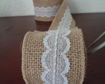 Burlap  lace Fabric Ribbon # 4 (2.4 x 6 Ft)