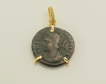 Antique Roman Coin and 18k Gold Pendant